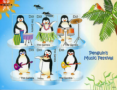 Gambia 2007 MNH Penguins Music Festival 6v M/S Birds Int Polar Year IPY Stamps
