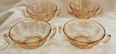 Set of Four Pink Sharon Cream Soup Bowl by Federal Glass ca 1935