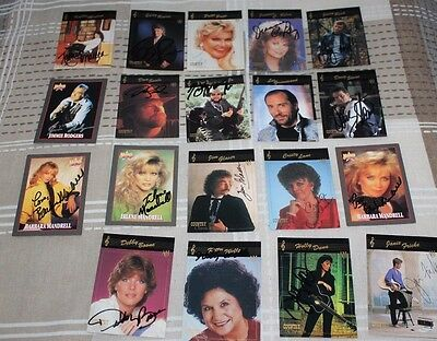 19 Various Signed Country Music Cards  Boone, Seals, Mandrell, Greenwood,Rodgers