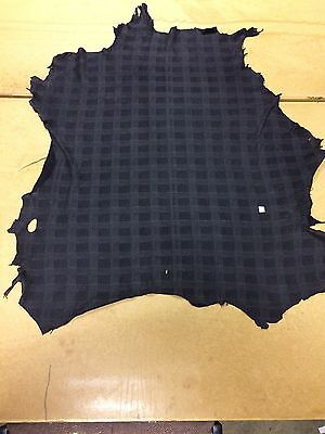 6 Sq Ft Black Checked Patterned Genuine Leather Skin, Top Quality Leather