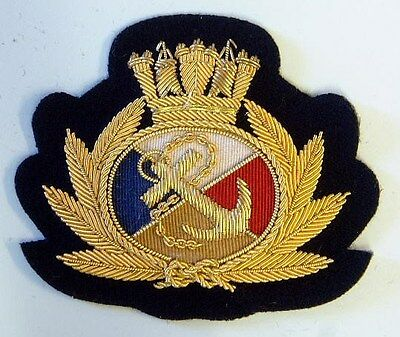 P&O CRUISE LINE Officers Cap Badge, woven with wire and cotton