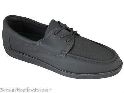 Mens Lawn Bowl Shoes Grey Laced  Leather Bowl Shoes - Last Few