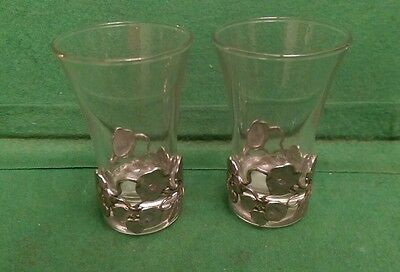 Pair of Shot Glasses decorated with Metal Flowers & Leaves