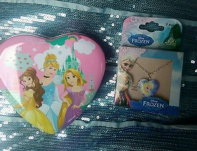 Disney Frozen necklace and Disney Princess jewellery tin