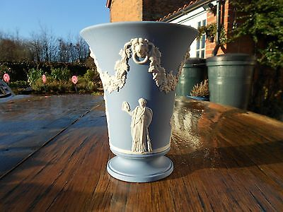 "1972 Wedgwood Blue Jasperware Vase 6"" tall"