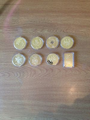 7 German Commemorative Coins And 1 Bar.