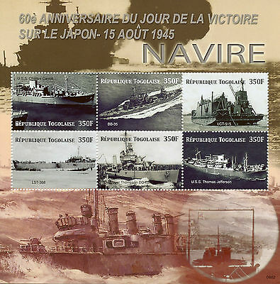 Togo 2006 MNH WWII VJ Day 60 End World War II 6v M/S Ships USS Jefferson Stamps