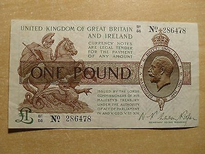 Treasury Pound Note Warren Fisher George V 1920s B1/56 286478