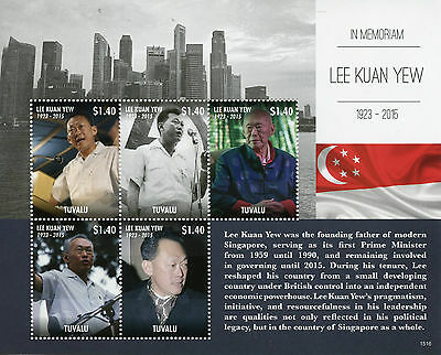 Tuvalu 2015 MNH Lee Kuan Yew in Memoriam 5v M/S Prime Minister Singapore Stamps
