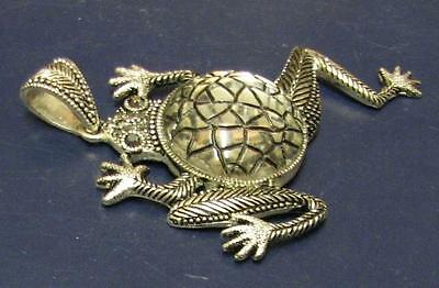 "Large 4"" Novelty Frog Costume Jewelry Pendant Silver Tone with Glass Body!"