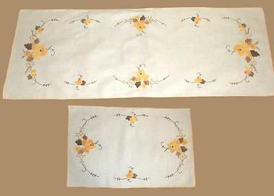Harvest gold and brown table runner and 8 placemats, hand embroidered