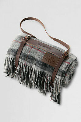 Pendleton picnic blanket wool roll-up leather carrier checked NEW