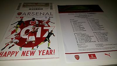 Arsenal V Crystal Palace 01/01/2017, Programme, Team Sheet & Ticket