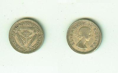 3 Pence 1956  South Africa     Silber