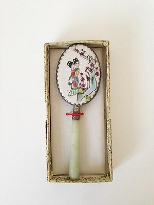 Vintage Chinese Porcelain Hand Painted Hand Mirror Jade Handle/white Metal.