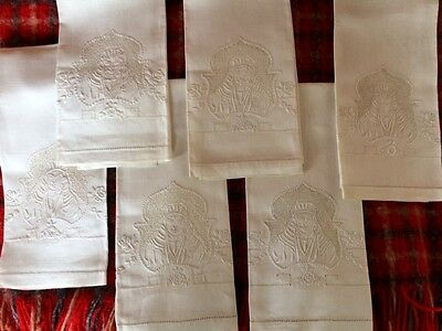 Matched Set Of 6 Antique Embroidered Victorian Dinner Napkins, Nice!