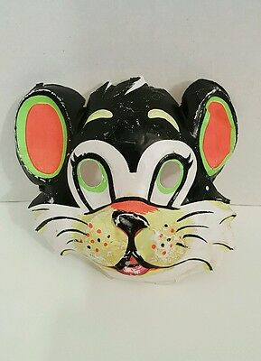 Vintage Collegeville Costume Kitty Cat Halloween Kids Mask Fast Shipping