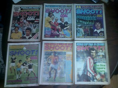 "Vintage 6 x ""Shoot! Incorporating Goal""  football magazines from 1974"
