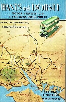 Hants And Dorset Bus Motor Services Time Table 1949