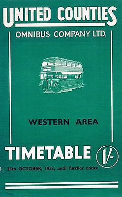United Counties Omnibus Co. Ltd Western Area Bus Timetable Booklet 1953