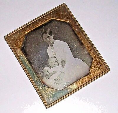 Sixth Plate Daguerreotype of a Mother and Baby Dressed in White