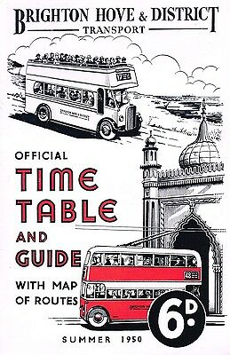 Brighton, Hove & District Summer 1950 Timetable, Guide And Route Map Booklet