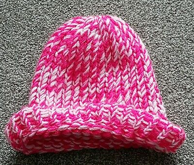 Hand Knitted Baby Toddler Girls Pink & White Winter Hat