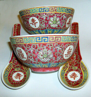 2 HAND painted Chinese rice bowls/and spoons OLD STYLE MUN SHOU 115mm diameter