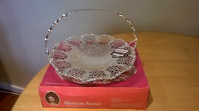 vintage queen anne silver plated cake basket with handle