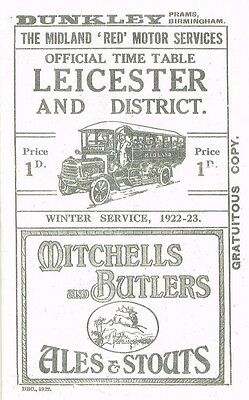 Leicester +District 1922 Midland Red Motor Time Table And Route Map