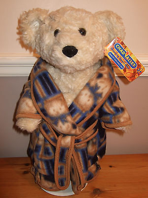Chad Valley Collectable Dressing Gown Bear with Fluffy Slippers, Stand & Tags