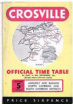 Buses - 1951 Crosville Official Time Table - North & Mid Wales