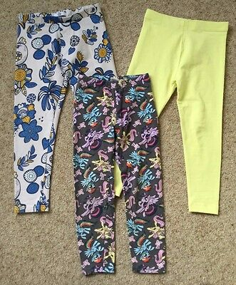 3 Pairs Little Girls Leggings  Age 4-5 Years  Ex Cond