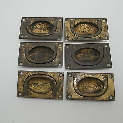 set 6 Vintage reclaimed  brass Inset Campaign Drawer Handles Pulls
