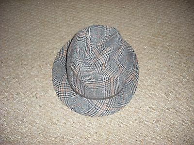 Mens M & S Check wool blend trilby hat