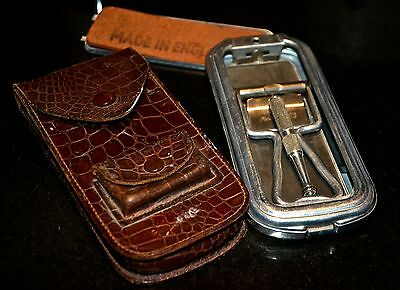 Vintage Rolls razor in metal box and leather case
