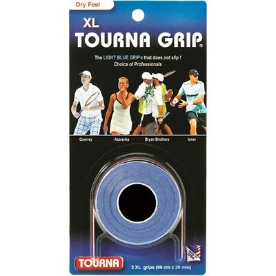 Tourna Tennis Over Grip 3 XL Overgrips Absorbent Dry Feel Tournagrip Blue
