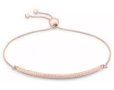 9ct Rose Solid GOLD Bar Ball & Pine On Chain Bangle/Bracelet +FREE Gift