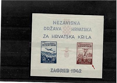 Croatia, NDH, 1942. Croatian Wings imperforated block with engraver, MNH