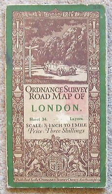 Vintage OS Map Sheet 34 London 1/2 inch Layers 1914