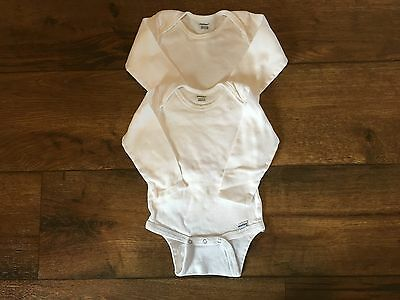 Carter's 2 Long Sleeve White Bodysuits Size 18 Months