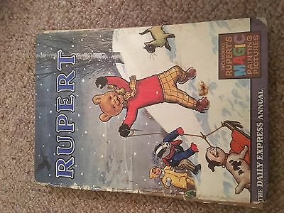 Vintage Rupert Annual 1967 Rupert Playing In Snow