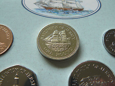 1992 JERSEY UNC 7 Coin Collection Set with Rare HEBE Sailing Ship Pound