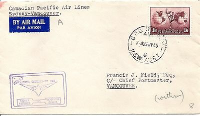 Australia 1949 FFC Sydney to Vancouver (B/S) Canadian Pacific Airlines