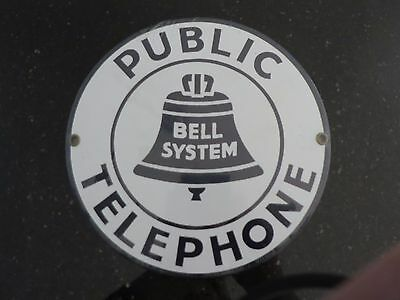 "Bell System Public Telephone NEW Porcelain Sign 7"" Round Andy Rooney Collectors"