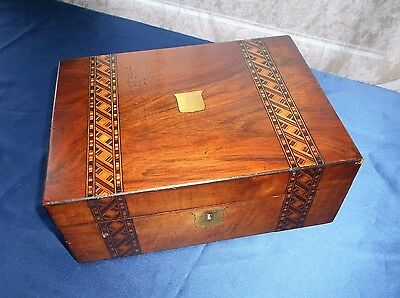 Antique Writing Slope with Tunbridge Ware Banding and Inkwell