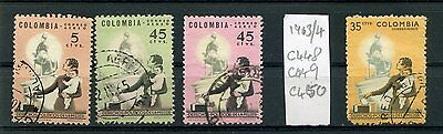 Colombia 4 used  Aereo stamps 1963/4