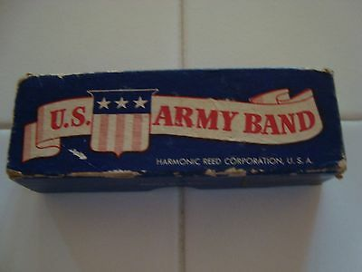 Vintage U. S. Army Band Harmonica New In Original Box With Instructions To Play