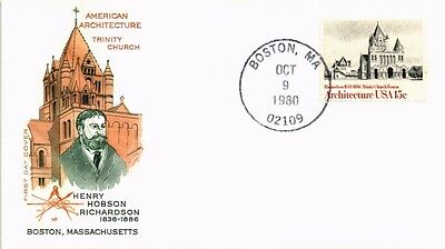 Dr Jim Stamps Us Richardson Trinity Church Architecture Fdc Farnum Cover 1980