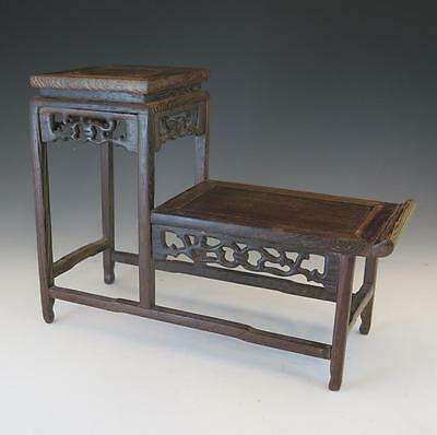 Small Two Tiered Chinese Carved Wooden Display Stand Or Table